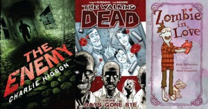 Three of the zombie books I will be reviewing this month