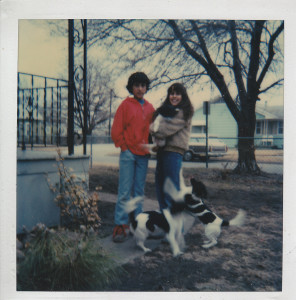 Angela, age 10, with her brother, and their  puppies. The dogs were the inspiration behind the character of Spike in Gaby, Lost and Found.