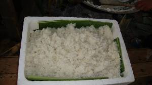 Rice served on bamboo leaves