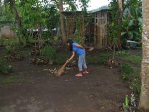 Yard of Leonora's childhood home
